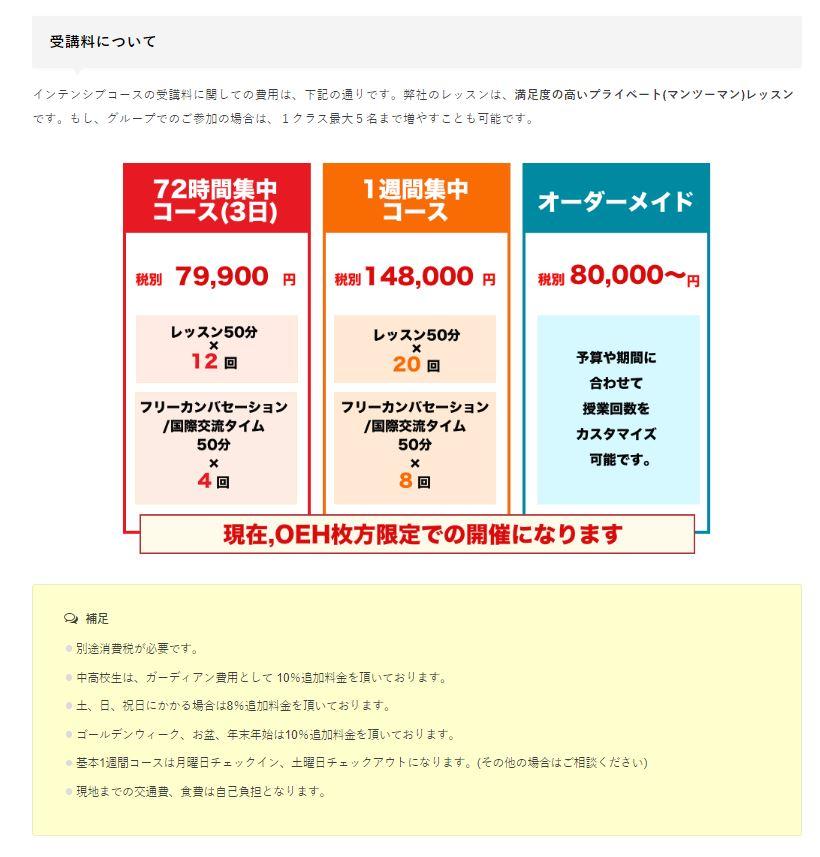 住込み型国内留学の老舗「大阪イングリッシュハウス」の受講料